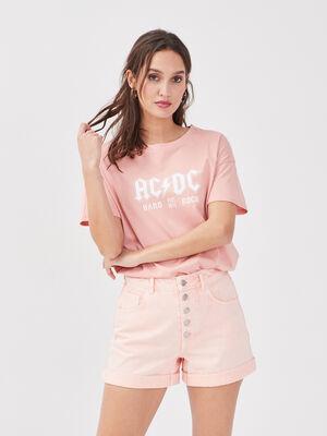 T shirt manches courtes ACDC rose pastel femme