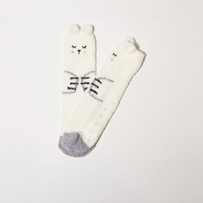 Chaussettes antidérapantes ecru femme