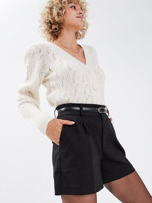 Short city ceinture noir femme