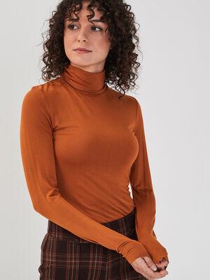 T shirt uni a manches longues marron clair femme