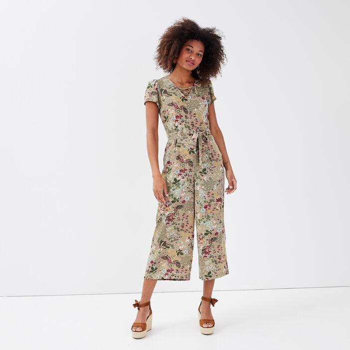 Combinaison pantalon ceinturée vert kaki femme