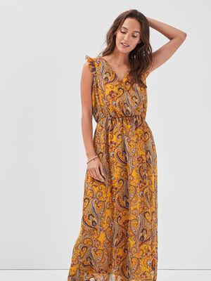 Robe longue evasee fluide jaune or femme