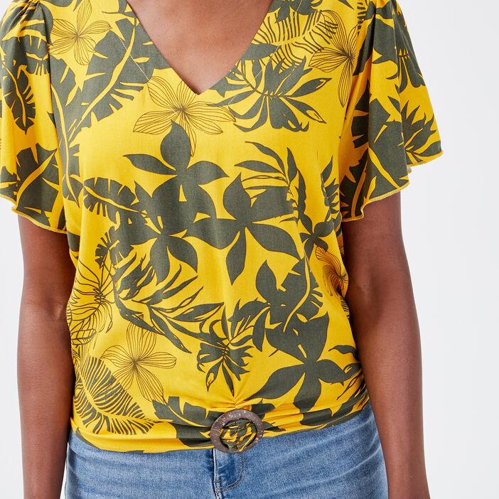 Blouse manches courtes jaune moutarde femme