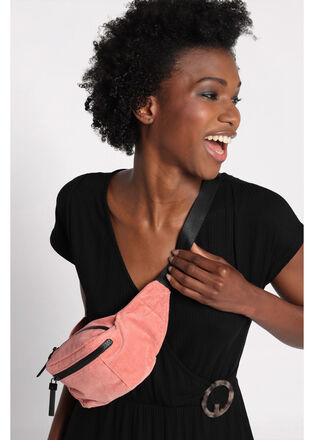 Sac banane zippe velours rose femme