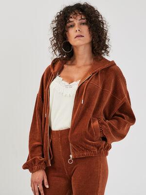 Sweat zippe effet velours marron cognac femme