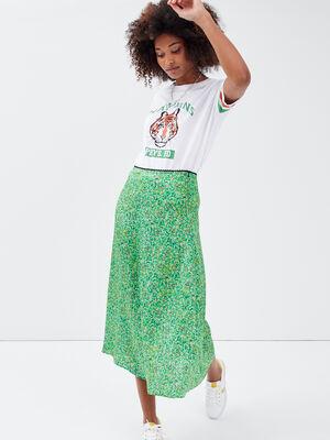 Jupe longue evasee vert femme
