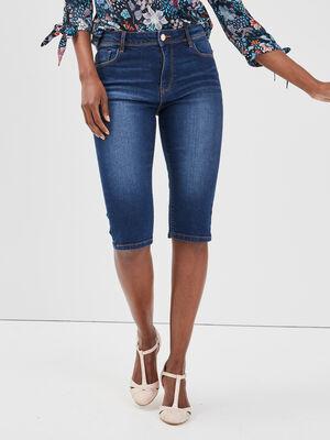 Bermuda slim en jean denim stone femme