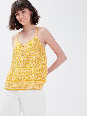 Blouse bretelles fines jaune femme