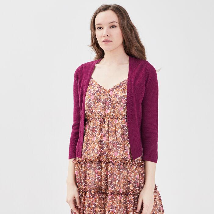 Gilet court manches 3/4 violet foncé femme