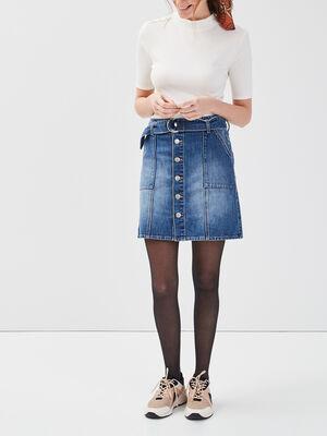 Jupe droite ceinturee en jean denim stone femme