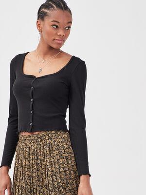 Gilet boutonne manches longues noir femme