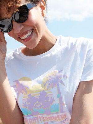 T shirt manches courtes Mickey blanc femme