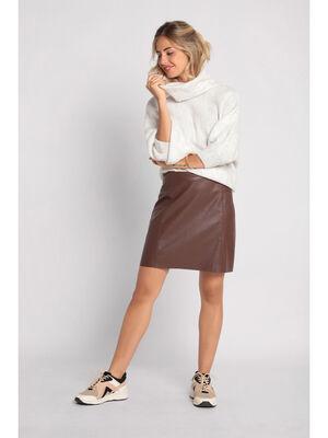 Jupe droite 2 poches marron fonce femme