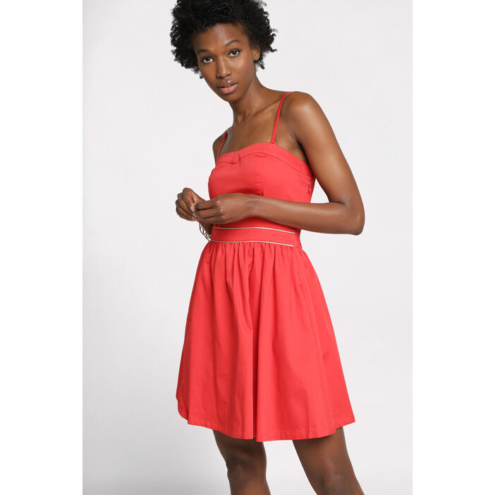 Robe bustier patineuse rouge femme