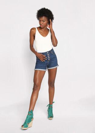 Short droit en jean boutonne denim stone femme