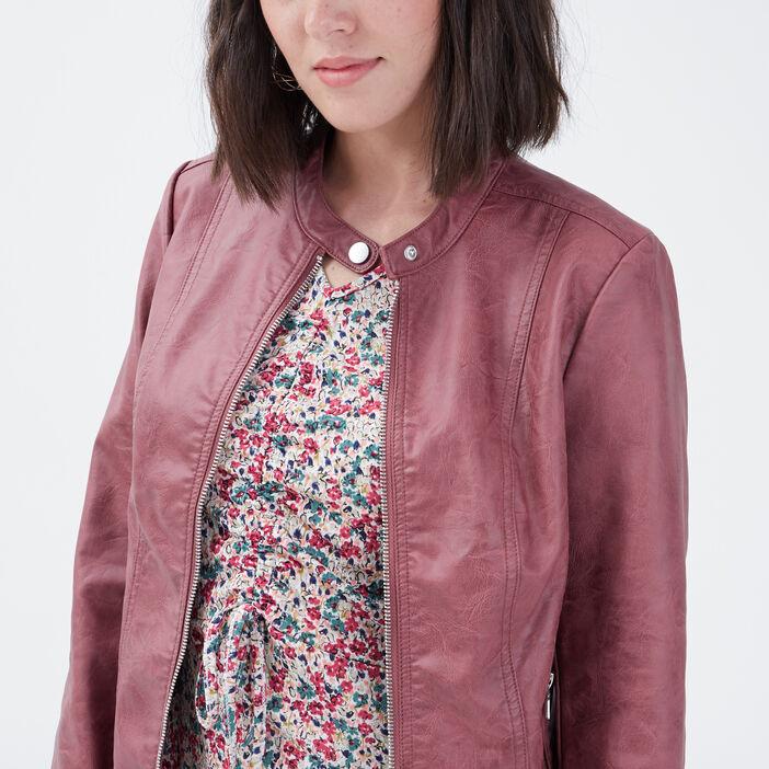 Veste droite zippée vieux rose femme