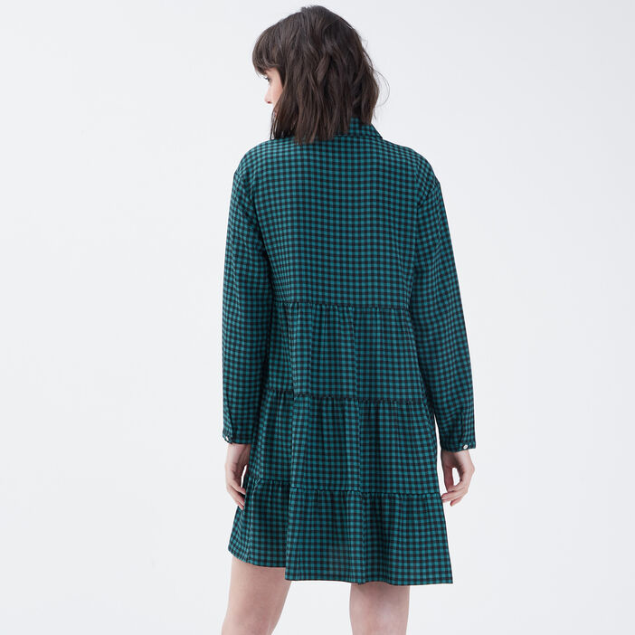 Robe évasée boutonnée vert femme
