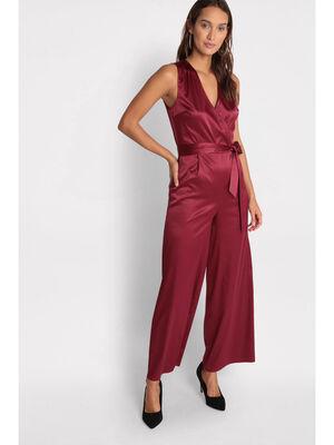 Combinaison pantalon ceinturee rouge femme