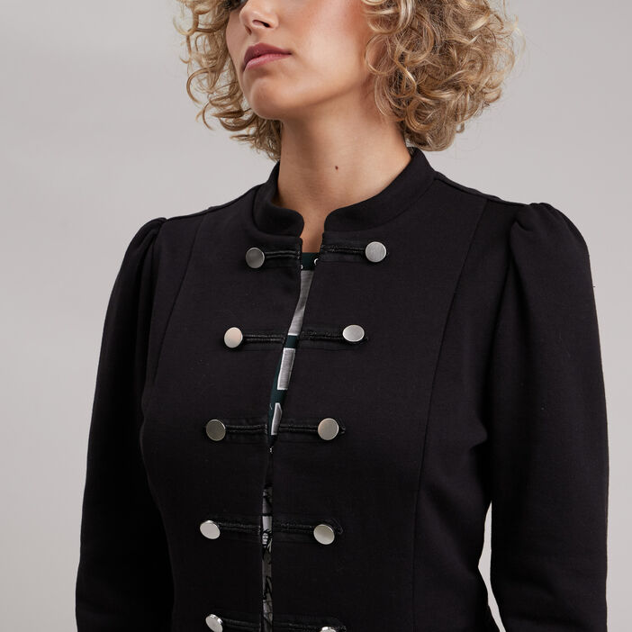Veste cintrée avec boutons noir femme