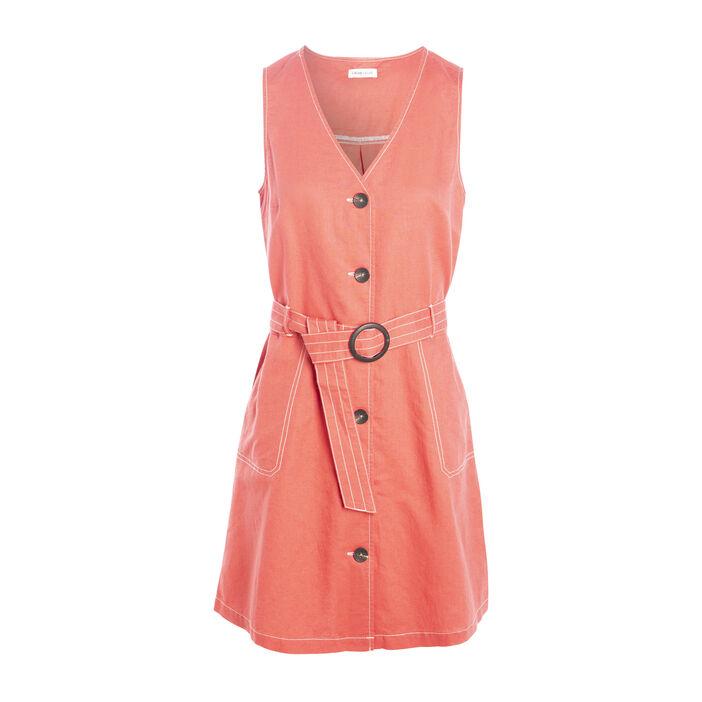 Robe évasée boutonnée lin rose femme