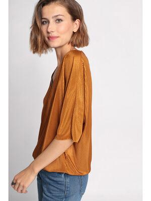 T shirt manches courtes drape camel femme