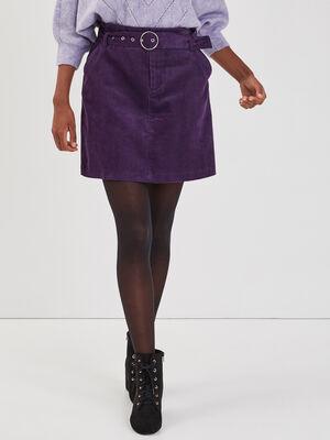 Jupe droite avec ceinture violet fonce femme