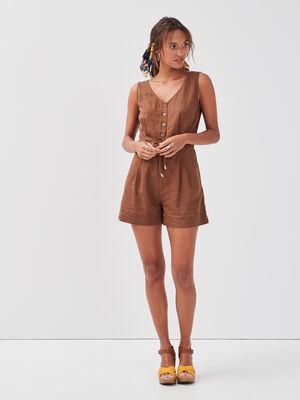 Combishort ceinture lin marron femme