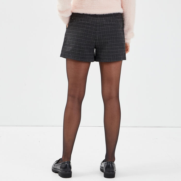 Short droit taille haute noir femme