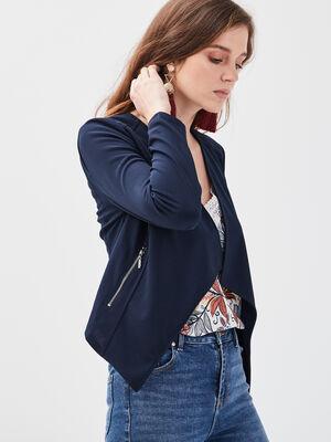 Veste cintree a pans bleu marine femme