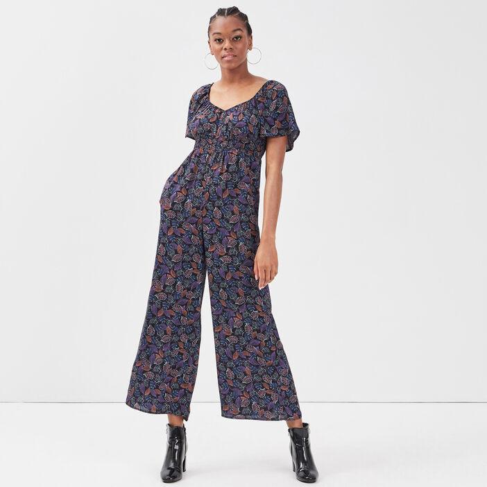 Combinaison pantalon ample noir femme