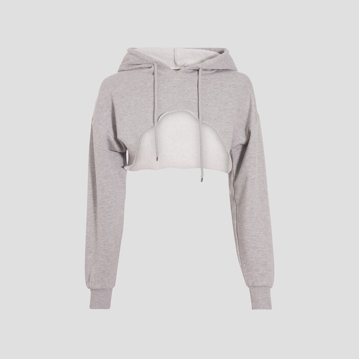 Sweat crop top à capuche gris clair femme