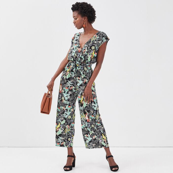 Combinaison pantalon fluide noir femme