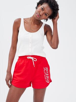 Short ample Coca Cola rouge fluo femme