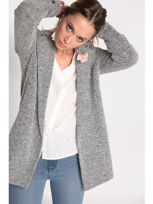Manteau col crante maille chinee gris fonce femme