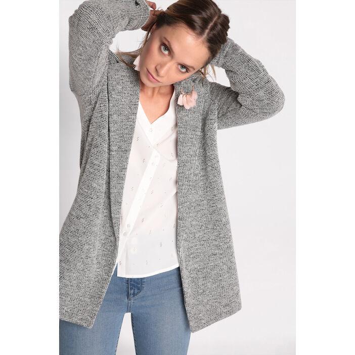 great deals 2017 great deals authentic quality Manteau col cranté maille chinée gris foncé femme | Vib's