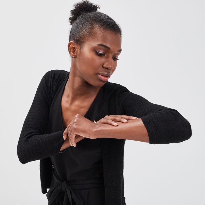 Gilet court manches 3/4 noir femme