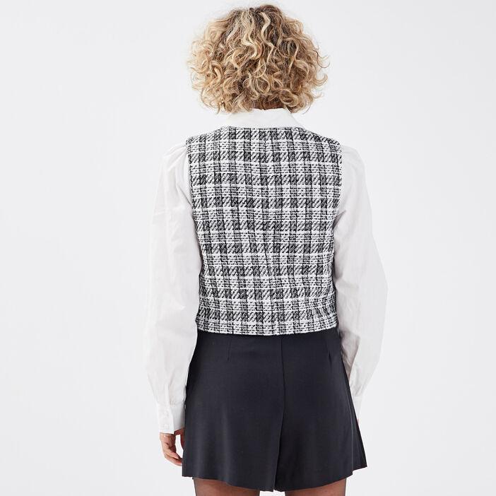 Veste droite sans manches blanc femme