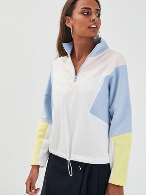 Sweat col montant zippe bleu pastel femme