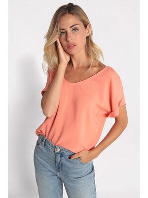 Blouse manches courtes orange corail femme