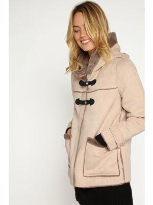 Duffle coat droit a capuche beige femme