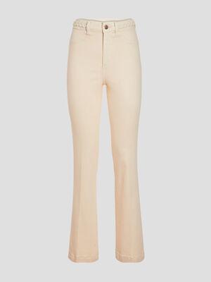 Jeans flare details tresses ecru femme