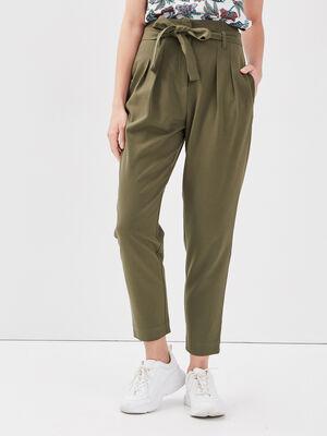 Pantalon paperbag vert kaki femme