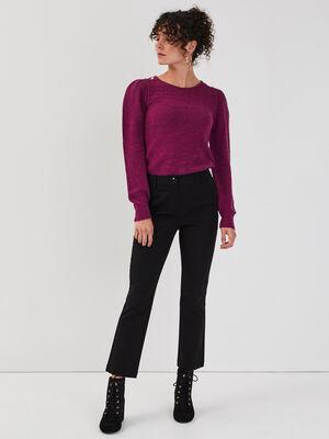 Pantalon bootcut taille haute noir femme