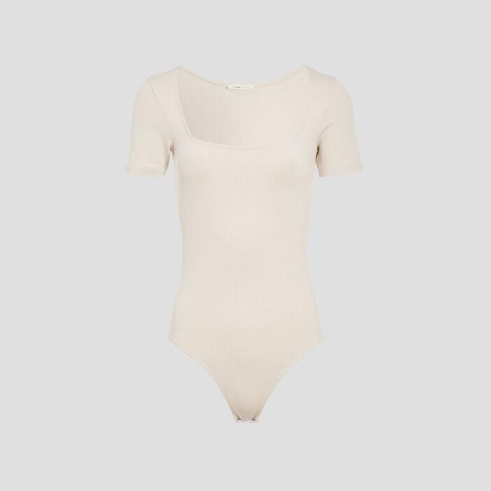 Body manches courtes côtelé sable femme