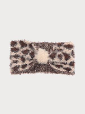 Bandeau tricote duveteux beige femme