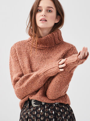 Pull col roule manches bishop rose poudree femme