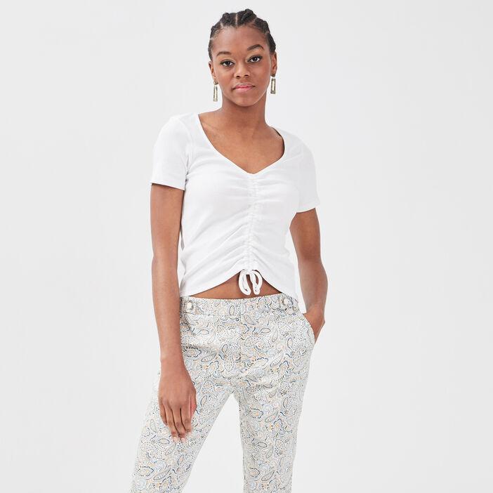 T-shirt manches courtes ecru femme