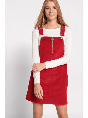 Robe salopette longue rouge femme
