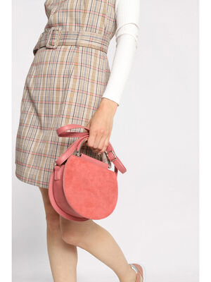 Sac bandouliere rond a anses rose femme