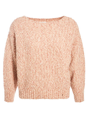 Pull ample col bateau rose clair femme